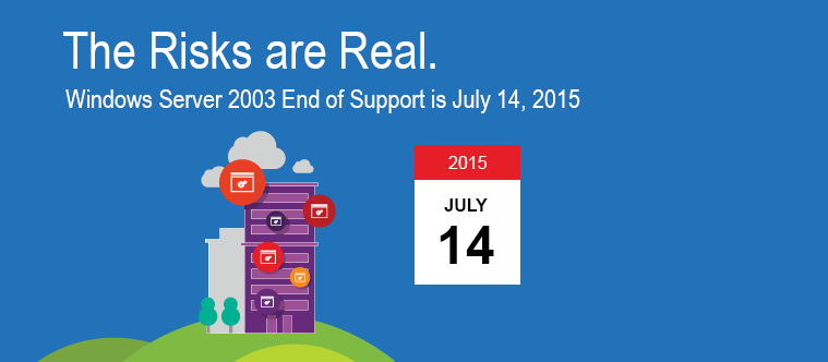 Windows Server 20031 - The Risks are Real. Windows Server 2003 End of Support is July 14, 2015