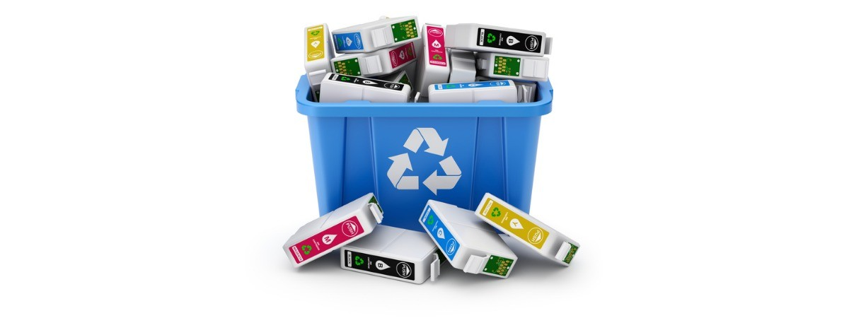 cartridges in blue recycle crate on white background picture id1032472994 - The Importance of Recycling Printer Toner